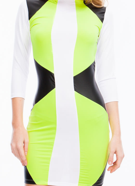 Neon Brights Colorblock Bodycon Dress NEONYELLOW