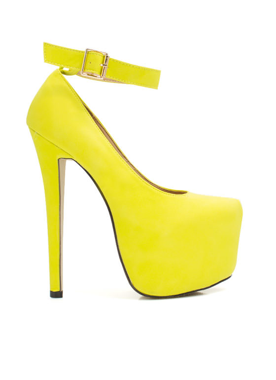 High And Mighty Ankle Strap Platforms LIME