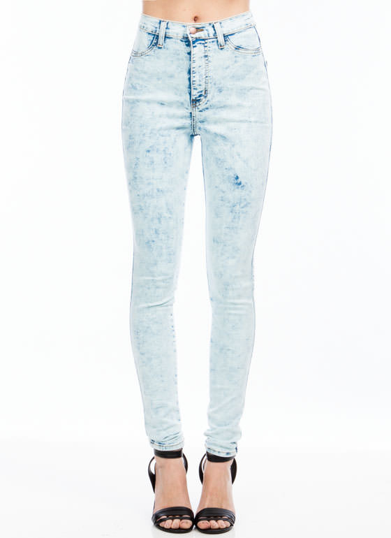 High-Waisted Mineral Wash Jeans MINTBLUE