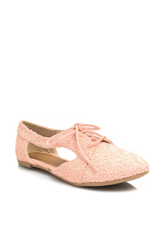 Lace And Laced Cut-Out Oxford Flats SALMON