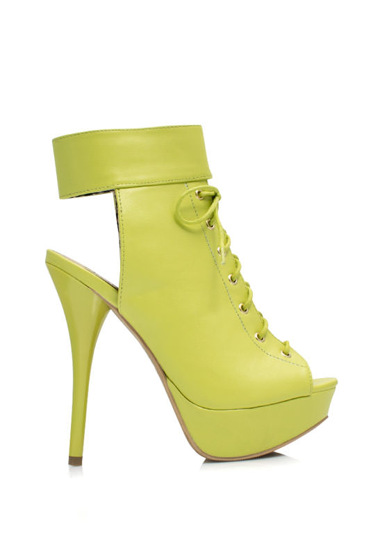 Cool Your Heels Lace-Up Booties LEMONLIME
