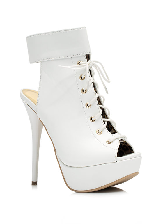 Cool Your Heels Lace-Up Booties WHITE