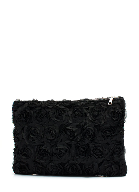 Layered Roses Clutch BLACK