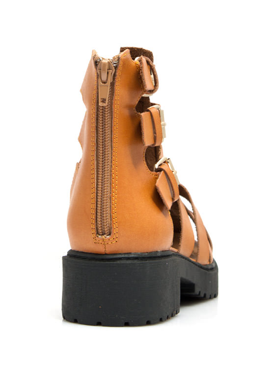 Tri-Cage Buckled Booties CAMEL