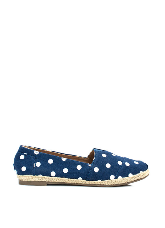 Dot The Eyes Espadrille Skimmer Flats NAVY