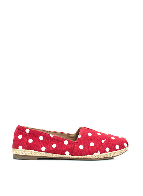 Dot The Eyes Espadrille Skimmer Flats RED