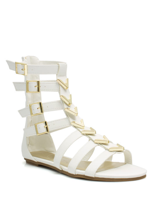 Spectacle Girl Gladiator Sandals WHITE