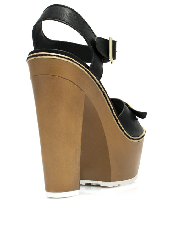 Into The Wooden Platform Heels BLACK