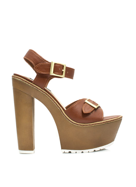 Into The Wooden Platform Heels CHESTNUT