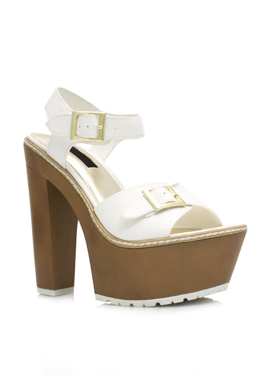 Into The Wooden Platform Heels WHITE