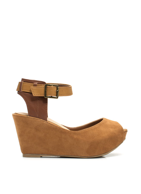 In The Mix Ankle Strap Wedges CHESTNUT