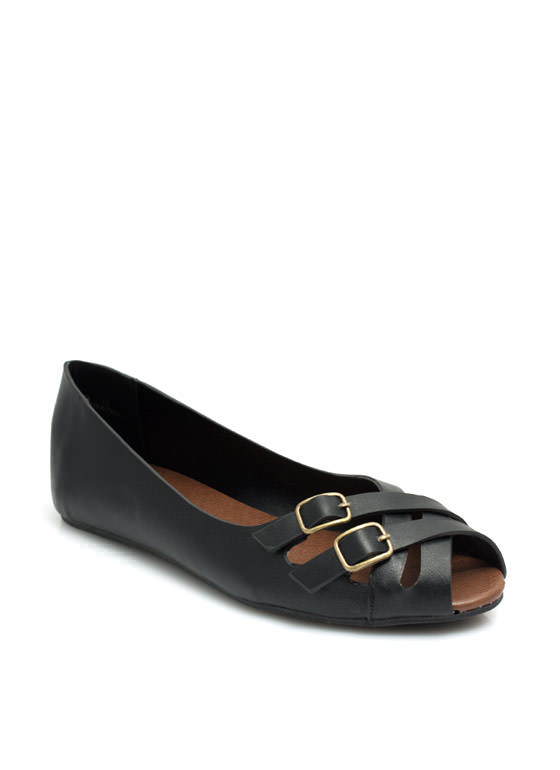 Double Crossed Buckled Peep-Toe Flats BLACK