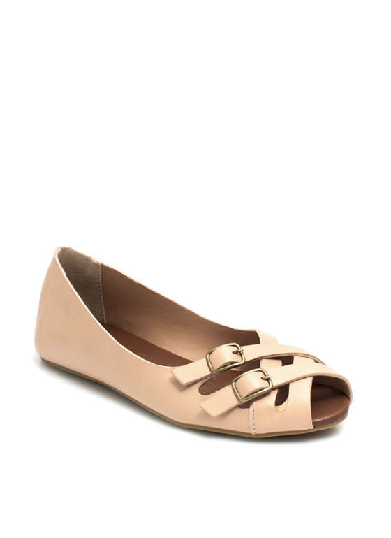 Double Crossed Buckled Peep-Toe Flats NUDE