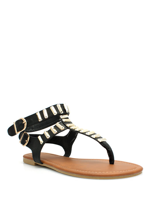 Bar None Double Strapped Sandals BLACK