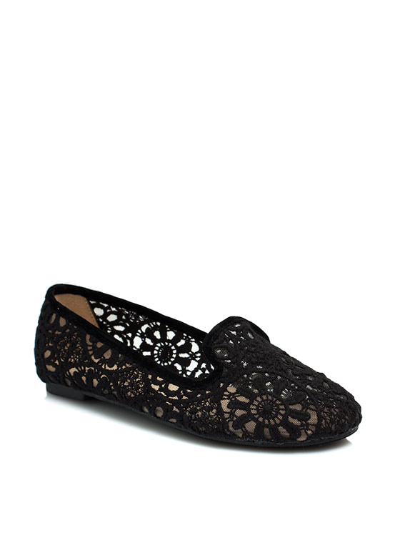 Lace Base Sheer Crochet Smoking Flats BLACK