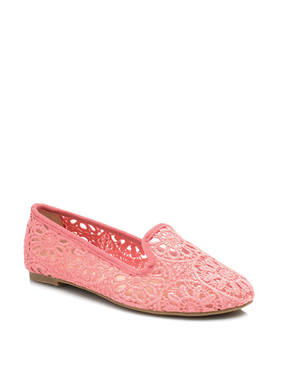 Lace Base Sheer Crochet Smoking Flats CORAL