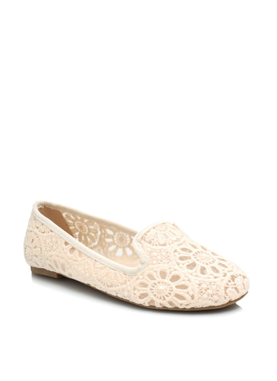 Lace Base Sheer Crochet Smoking Flats CREAM