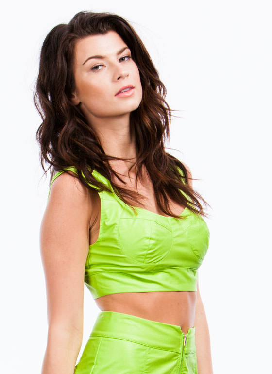 Lady In Leather Bustier Cropped Top LIME