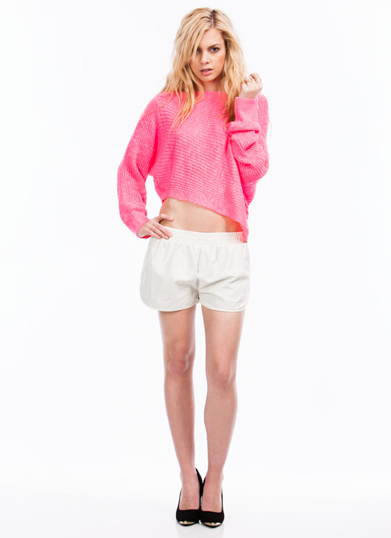 Asymmetrical Knit Sweater HOTPINK