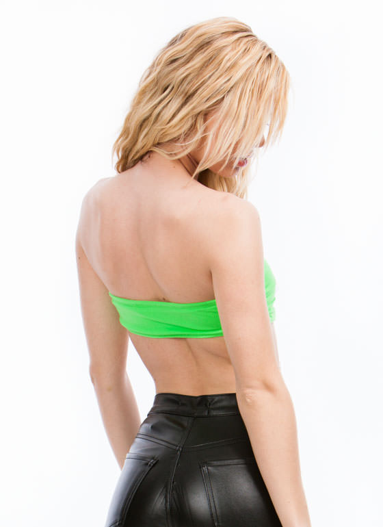 Double Cross You Cut-Out Bandeau NEONGREEN