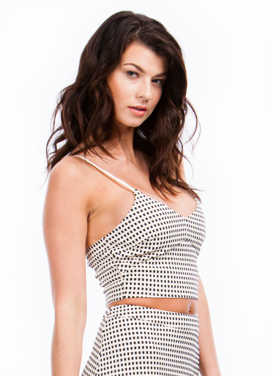 Check Yourself Textured Cropped Top IVORYBLACK
