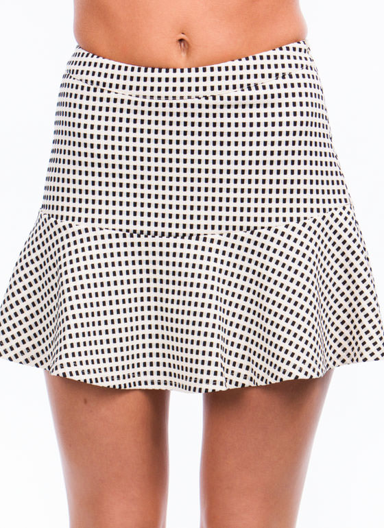 Check Yourself Textured Skater Skirt IVORYBLACK