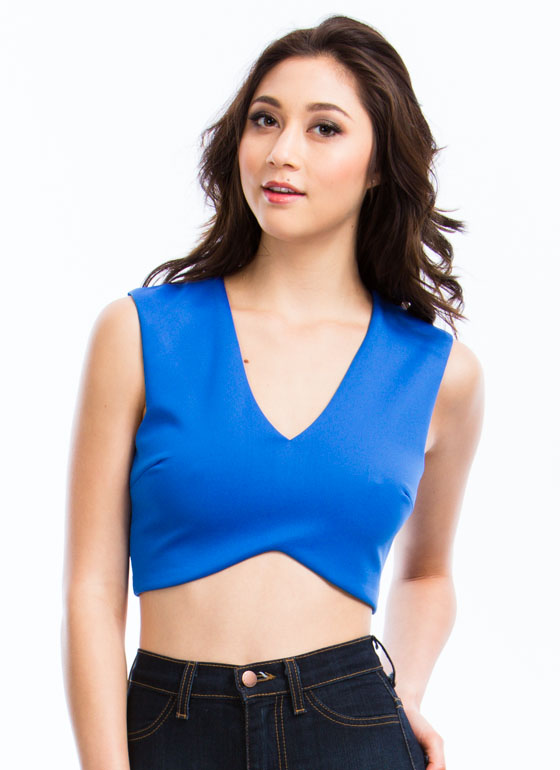 What's The Story Cut-Out Cropped Tank ROYAL