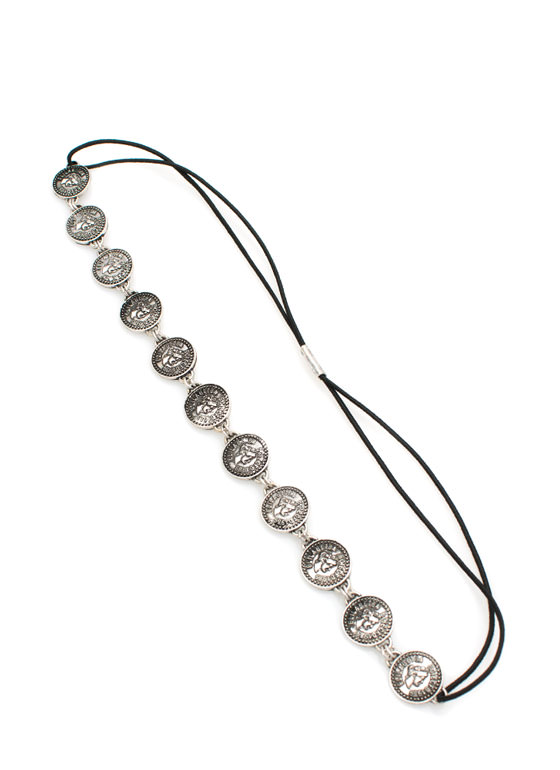 Roman Coin Medallion Headband SILVER