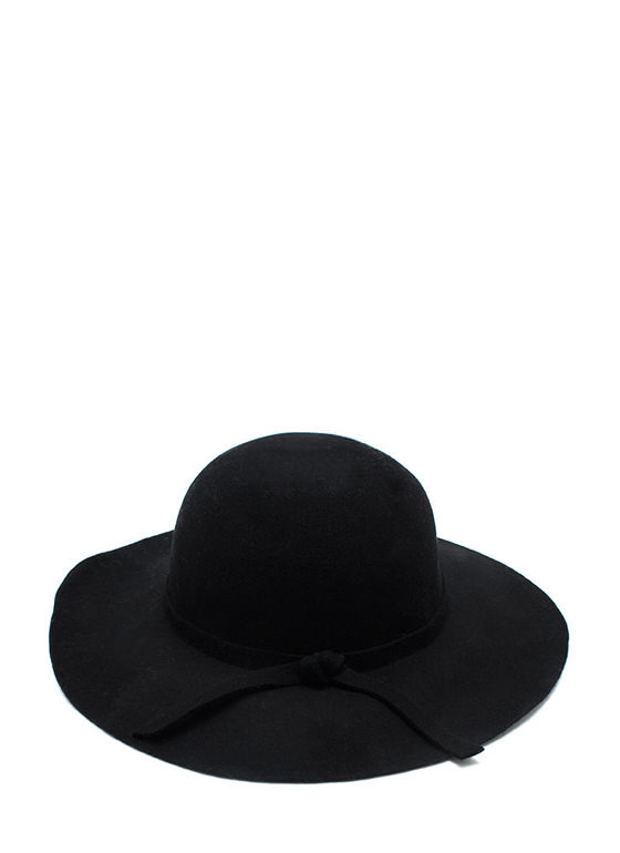 Wide Brim Wool Hat BLACK
