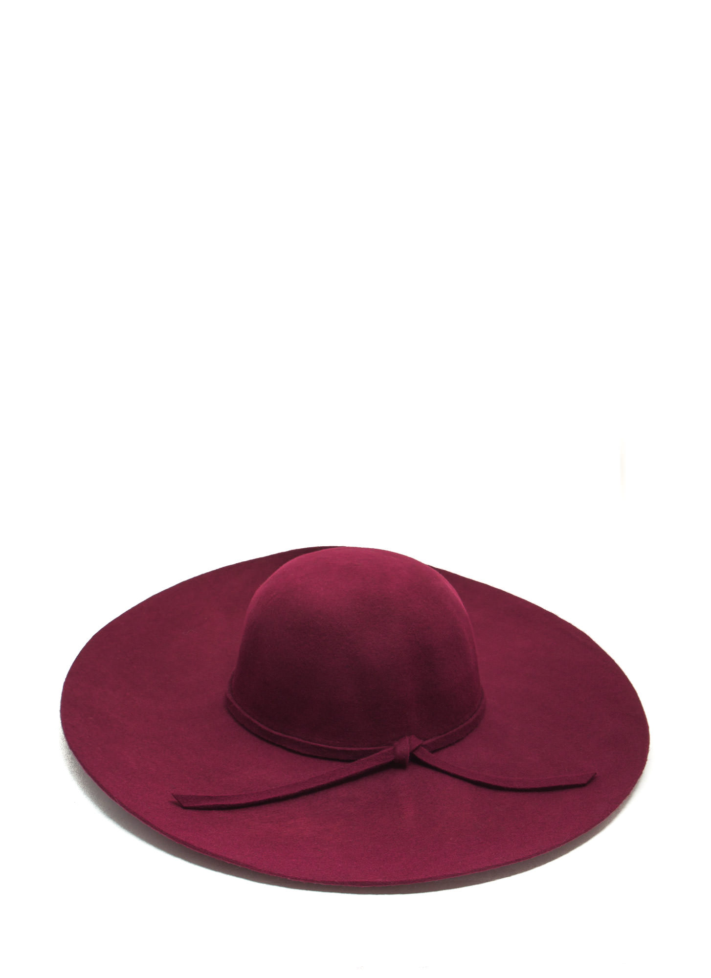 Wide Brim Wool Hat BURGUNDY