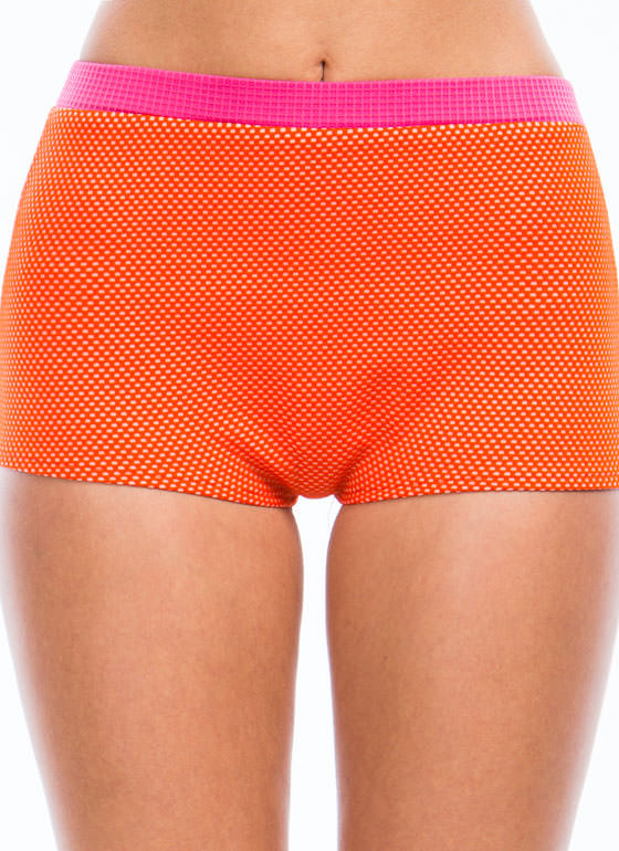 Colorblock N Polka Dot Shorts ORANGEPINK