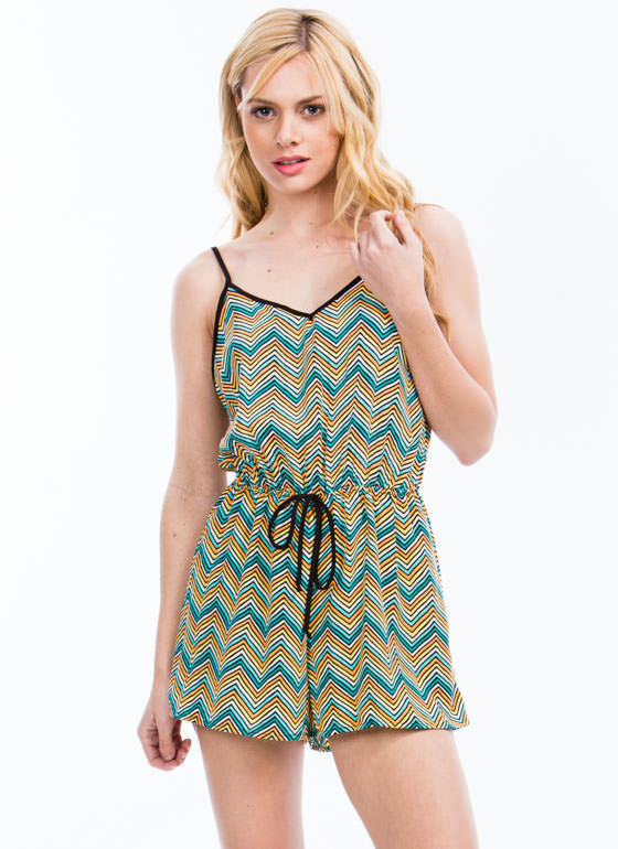 Chevron Striped Romper TEALORANGE