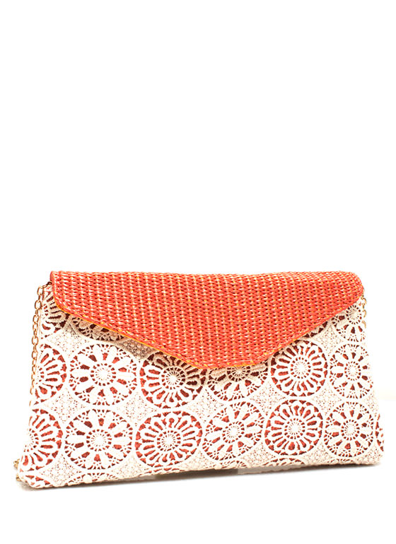 Woven N Crocheted Envelope Clutch SALMON
