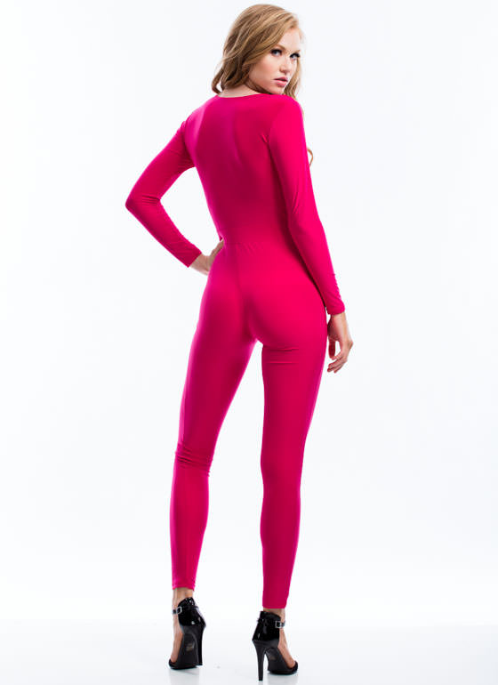 Pleated Perfection Jumpsuit FUCHSIA