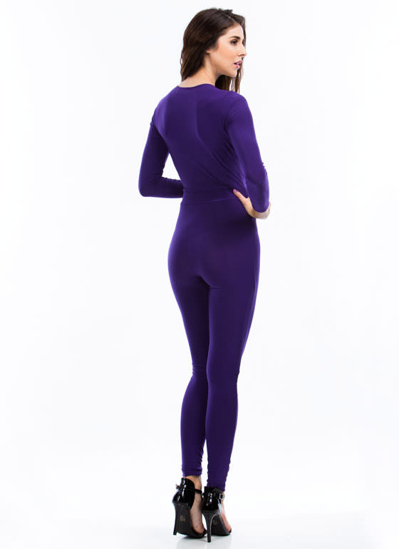 Pleated Perfection Jumpsuit PURPLE