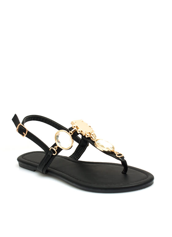 Mirrored Gleam Embellished Sandals BLACK