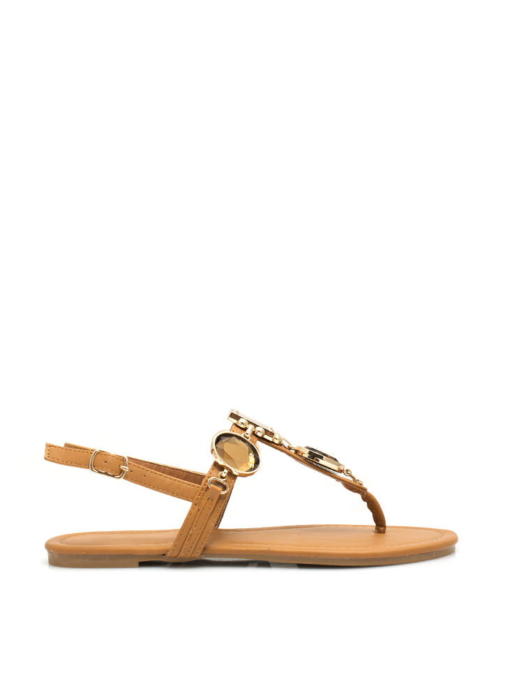 Mirrored Gleam Embellished Sandals CHESTNUT