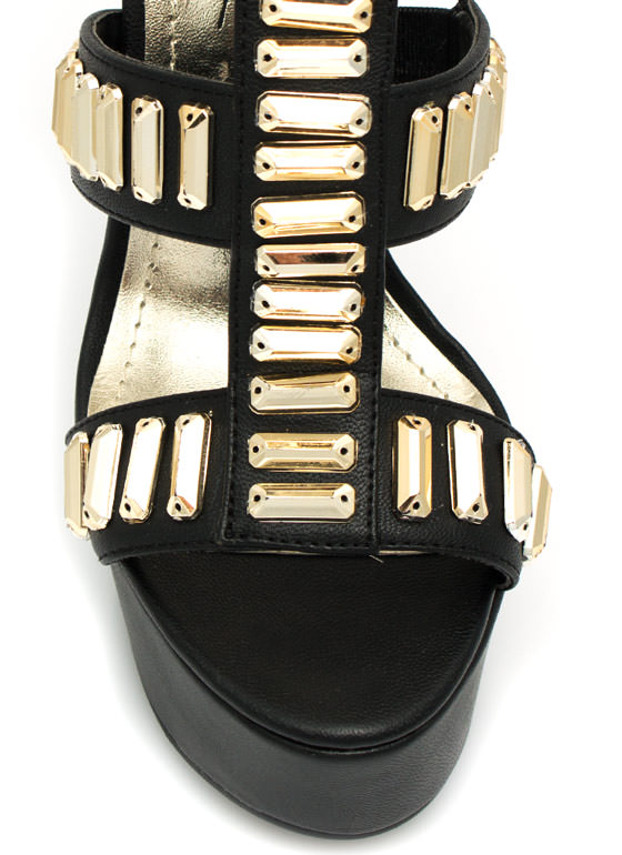 Gilded Perfection Platform Heels BLACK