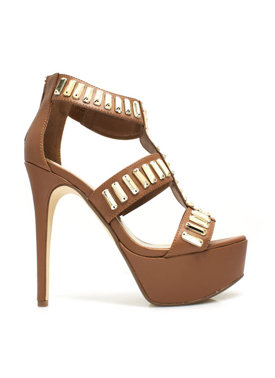 Gilded Perfection Platform Heels CHESTNUT