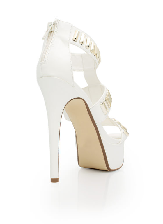 Gilded Perfection Platform Heels WHITE