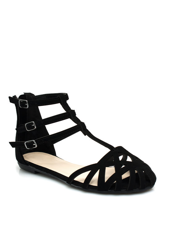 Triple Strap Caged Flats BLACK