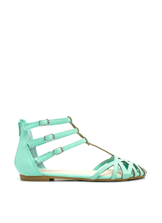Triple Strap Caged Flats MINT
