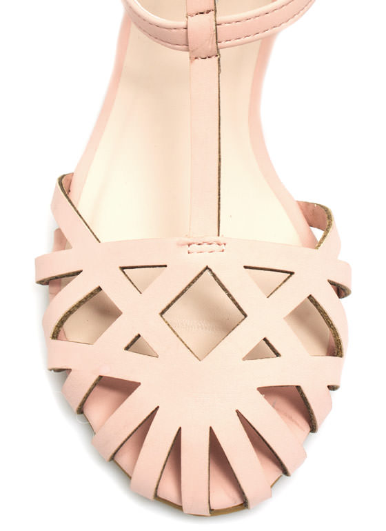 Triple Strap Caged Flats ROSE