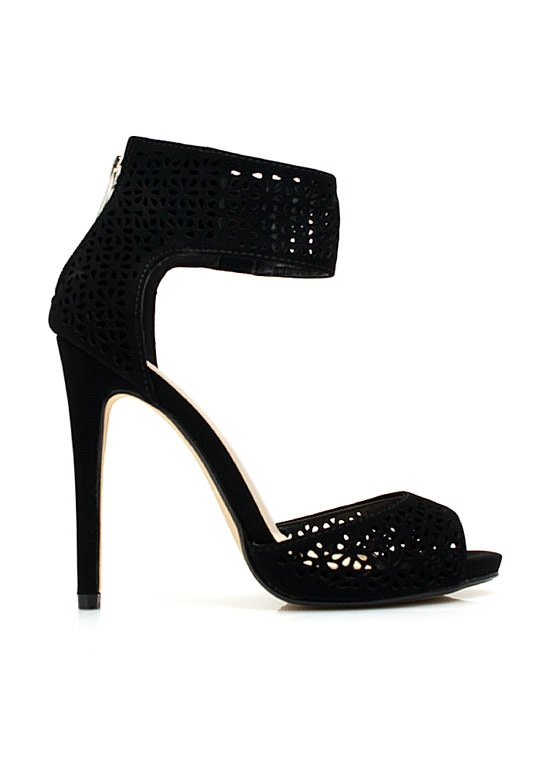 Wine N Dine Laser Cut-Out Heels BLACK