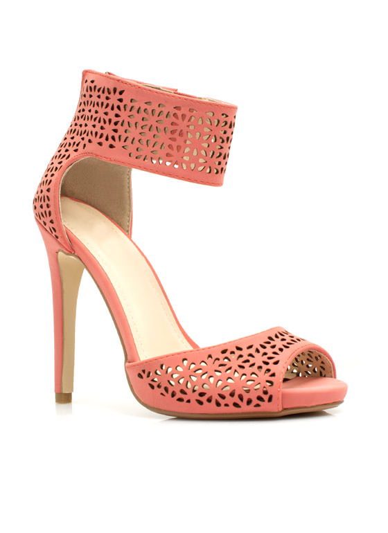 Wine 'N Dine Laser Cut-Out Heels MELON