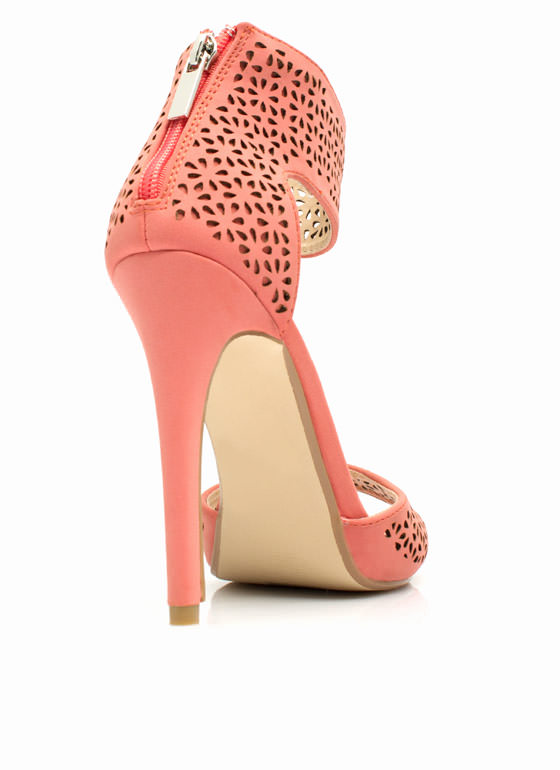 Wine N Dine Laser Cut-Out Heels MELON