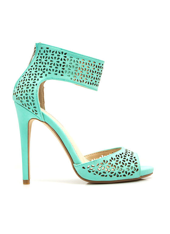 Wine N Dine Laser Cut-Out Heels MINT