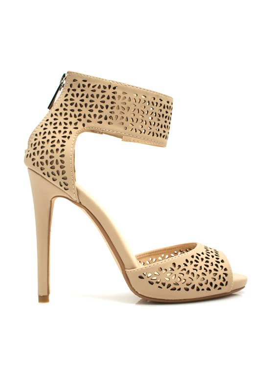 Wine N Dine Laser Cut-Out Heels NUDE