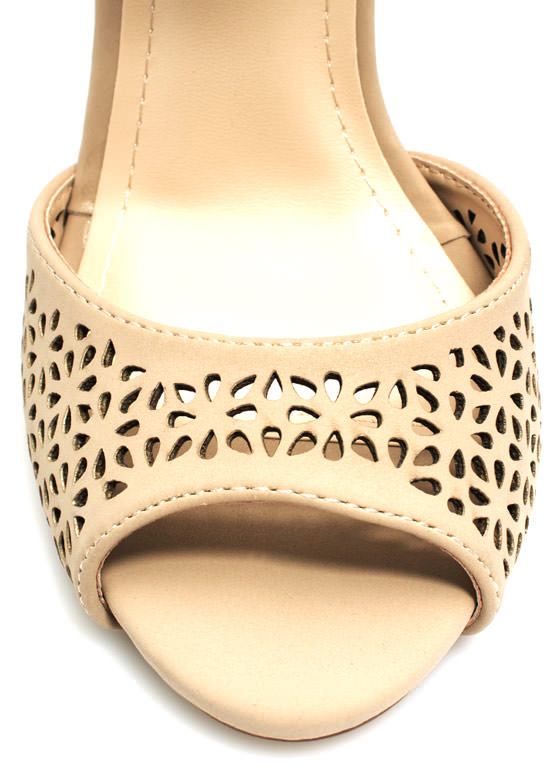 Wine 'N Dine Laser Cut-Out Heels NUDE