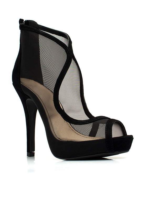 Throw A Curve Mesh Cut-Out Heels BLACK